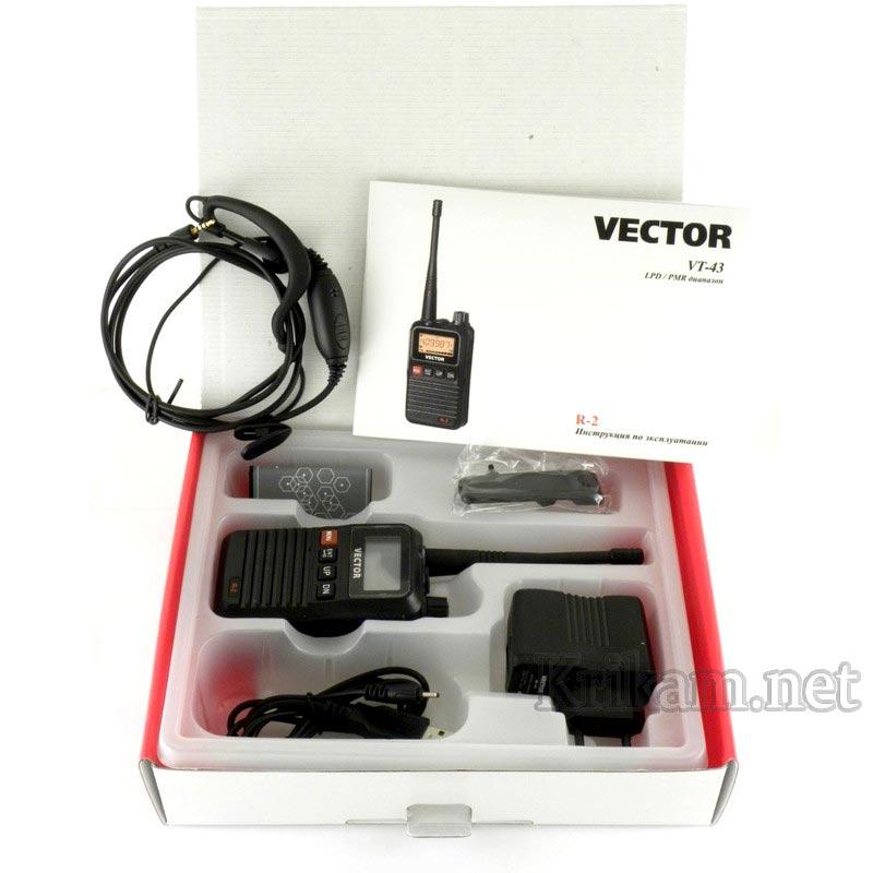 Рация vector vt-43 r2: lpd/pmr, мощность 2 вт, характеристики.